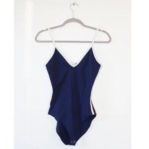 VS Pink Navy Blue Sleeveless Bodysuit S